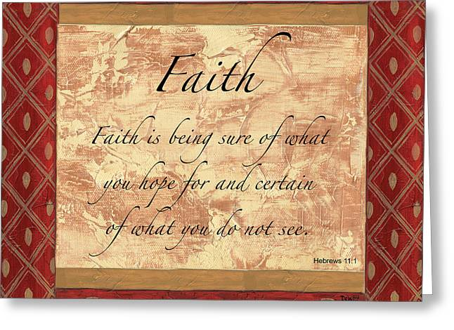 Faith Paintings Greeting Cards - Red Traditional Faith Greeting Card by Debbie DeWitt