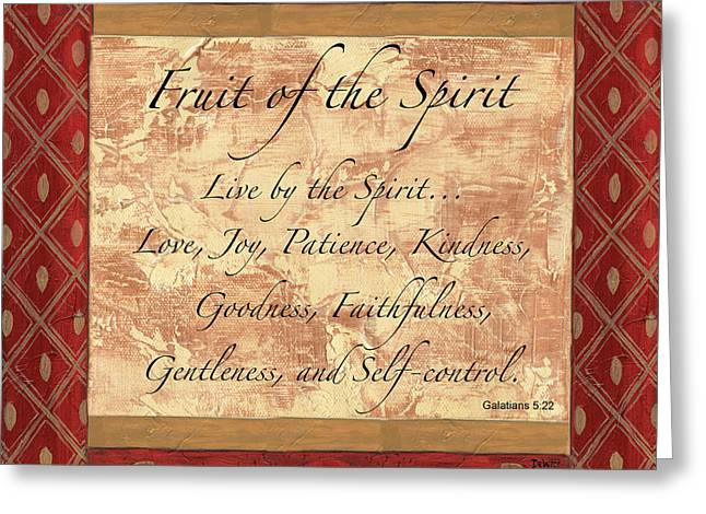 Scripture Greeting Cards - Red Traditional Fruit of the Spirit Greeting Card by Debbie DeWitt