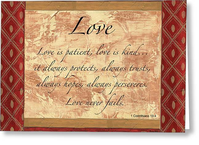 Scripture Greeting Cards - Red Traditional Love Greeting Card by Debbie DeWitt