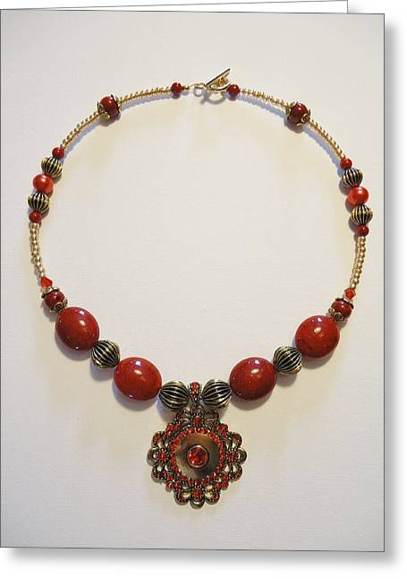 Bold Necklace Jewelry Greeting Cards - Red Treasure Greeting Card by Jenna Green