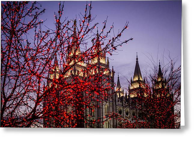 Utah Temple Photography Greeting Cards - Red Tree Lights Temple Greeting Card by La Rae  Roberts