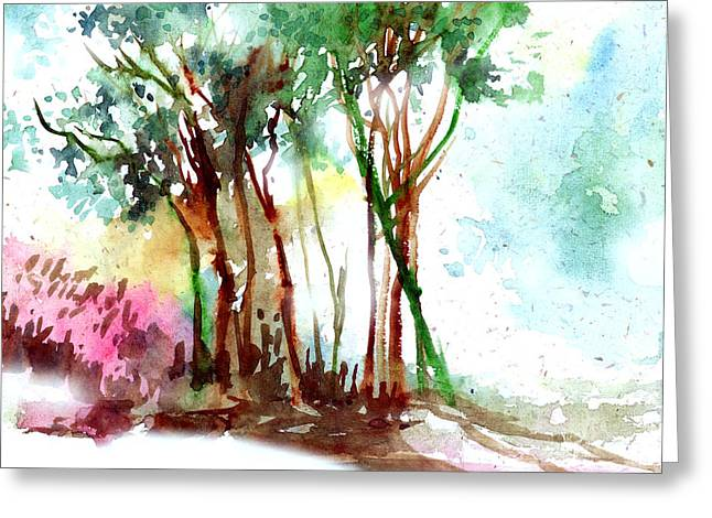 Anil Nene Greeting Cards - Red Trees Greeting Card by Anil Nene