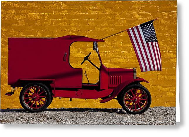 Red Truck Greeting Cards - Red truck against yellow wall Greeting Card by Garry Gay