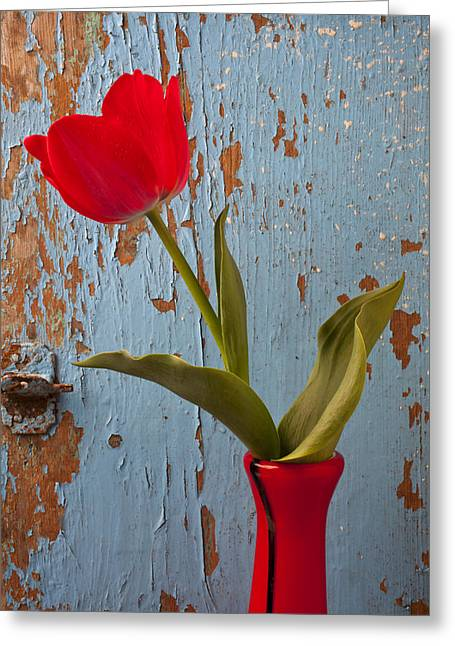 Red Tulips Greeting Cards - Red Tulip Bending Greeting Card by Garry Gay
