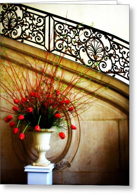 Flower Works Greeting Cards - Red Tulips Greeting Card by Susie Weaver