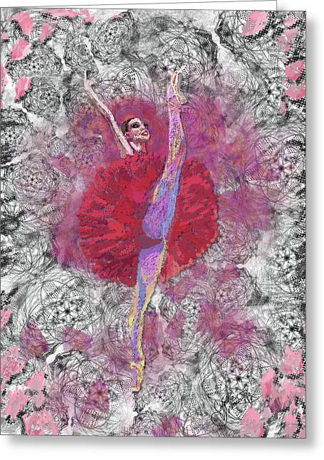 Dance Ballet Roses Greeting Cards - Red Tutu Greeting Card by Cynthia Sorensen