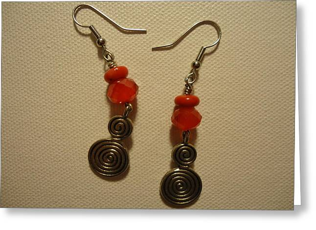 Red Art Jewelry Greeting Cards - Red Twist Earrings Greeting Card by Jenna Green