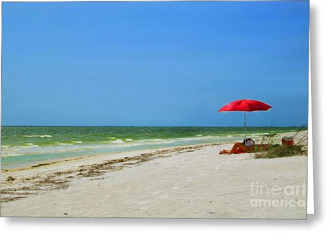 Red umbrella Greeting Card by Danuta Bennett
