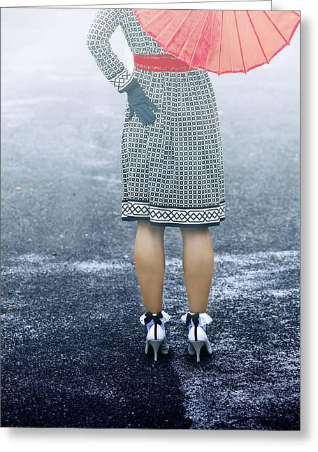 Umbrella Greeting Cards - Red Umbrella Greeting Card by Joana Kruse