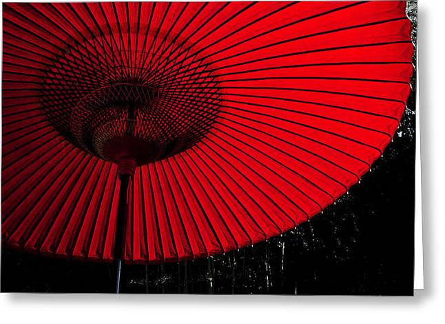 Photogrpah Greeting Cards - Red Umbrella Greeting Card by Laszlo Rekasi