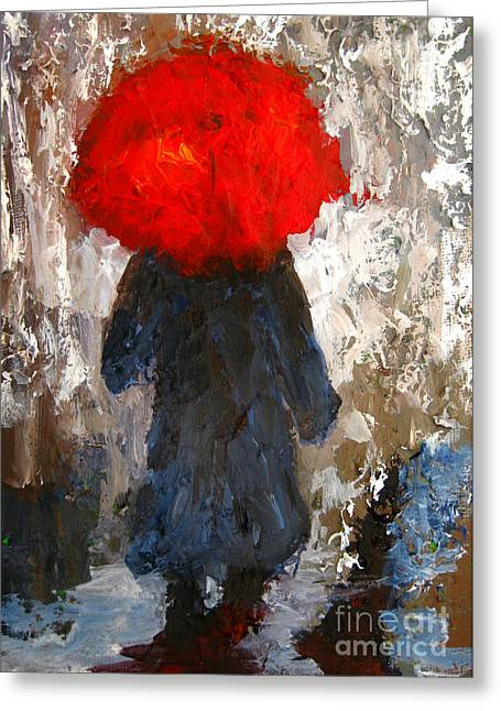 Relief Print Paintings Greeting Cards - Red umbrella under the rain Greeting Card by Patricia Awapara