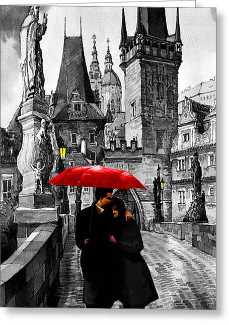 Mixed Media Greeting Cards - Red Umbrella Greeting Card by Yuriy  Shevchuk