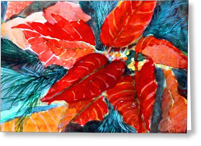Fir Trees Greeting Cards - Red Velvet Christmas Greeting Card by Mindy Newman