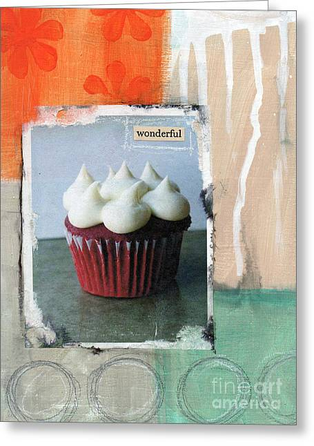 Cupcakes Greeting Cards - Red Velvet Cupcake Greeting Card by Linda Woods