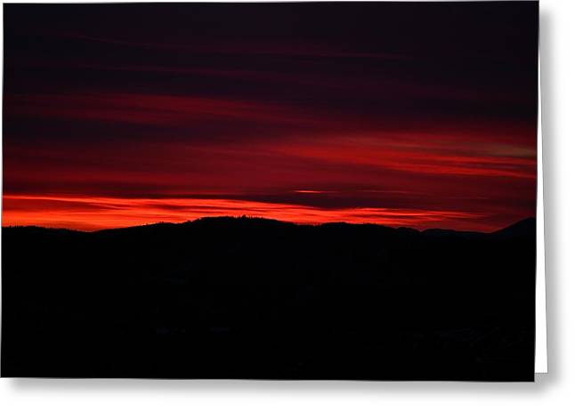 Red Velvet Sky Greeting Card by Kevin Bone