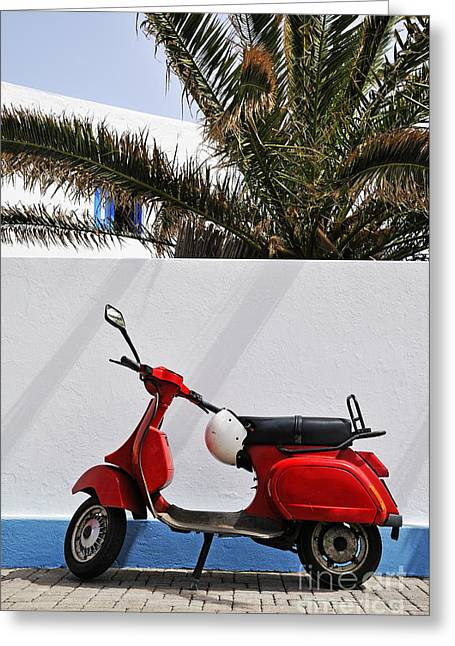 Surrounding Wall Greeting Cards - Red Vespa by wall Greeting Card by Sami Sarkis