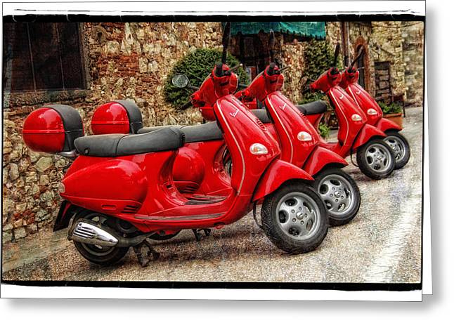 Leaning Pyrography Greeting Cards - Red Vespas Greeting Card by Mauro Celotti