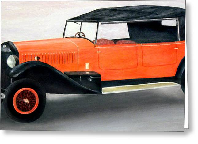 Car Greeting Cards - Red Vintage Car Greeting Card by Ronald Haber