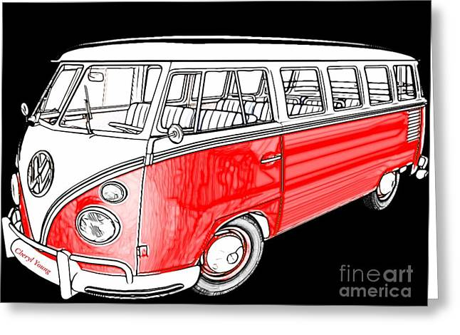 First Love Greeting Cards - Red Volkswagen Greeting Card by Cheryl Young