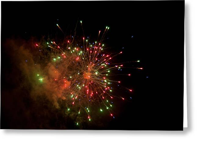 Pyrotechnics Greeting Cards - Red vs Green Greeting Card by Paul Mangold