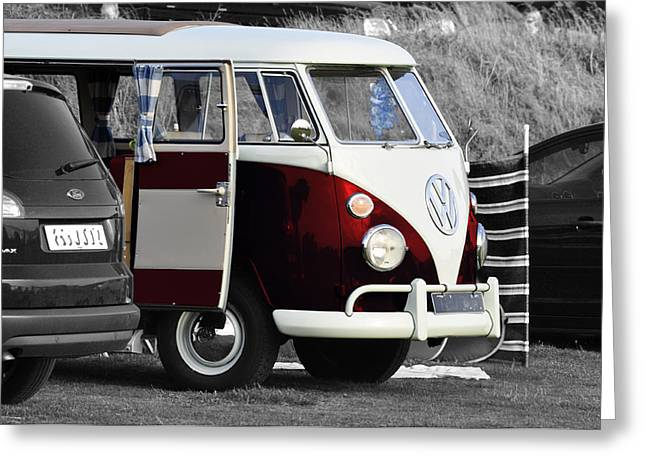 Red Vw Camper Greeting Card by Paul Howarth