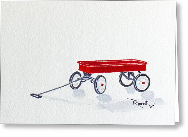 Wagon Paintings Greeting Cards - Red Wagon Greeting Card by Richard Roselli