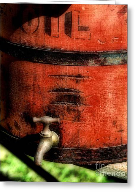 Farm Bucket Greeting Cards - Red weathered wooden bucket Greeting Card by Paul Ward