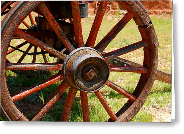 Wagon Greeting Cards - Red Wheels Greeting Card by David Lee Thompson