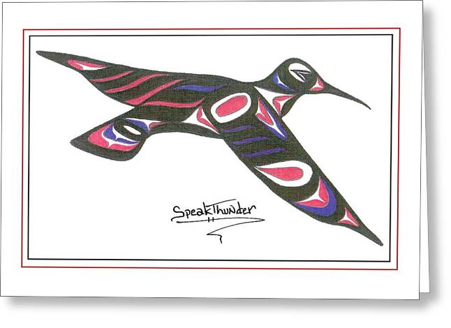 Speakthunder Berry Greeting Cards - Red white and blue Humming bird Greeting Card by Speakthunder Berry