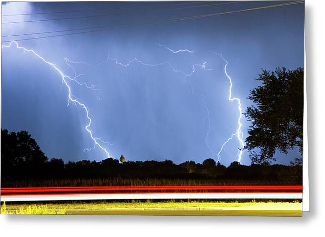 Lightning Gifts Greeting Cards - Red White And Blue Greeting Card by James BO  Insogna