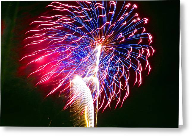 Brighthouse Field Greeting Cards - Red White and Blue Greeting Card by Judy Wanamaker