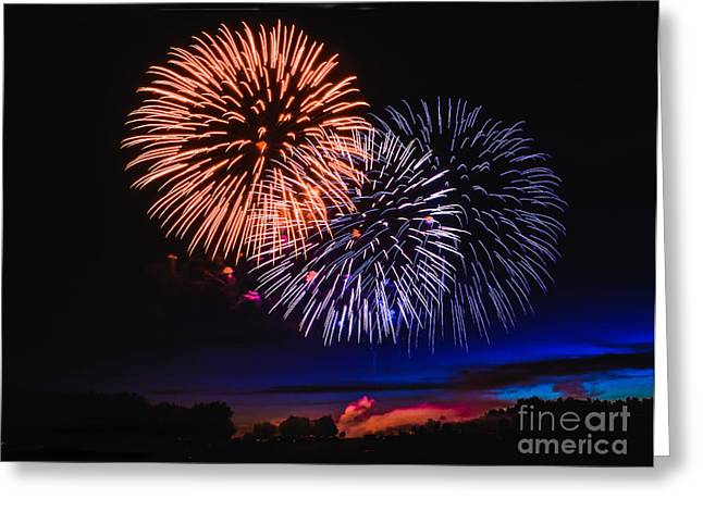 Purple Fireworks Greeting Cards - Red White and Blue Greeting Card by Robert Bales