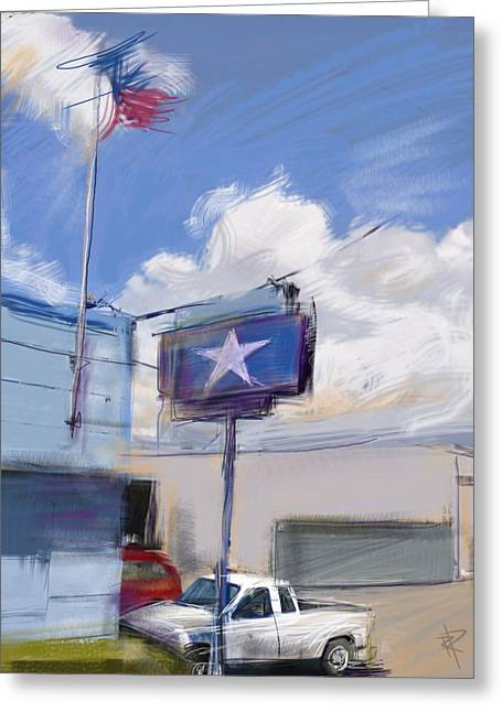 Industrial Mixed Media Greeting Cards - Red White and Blue Greeting Card by Russell Pierce