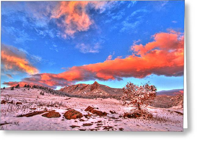 Cu Boulder Greeting Cards - Red White and Blue Winter Greeting Card by Scott Mahon