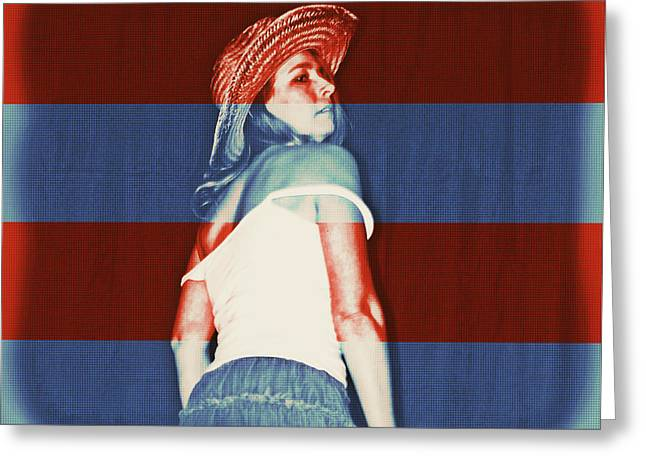 Cowgirl Skirt Greeting Cards - Red White and Blued Greeting Card by Cindy Nunn