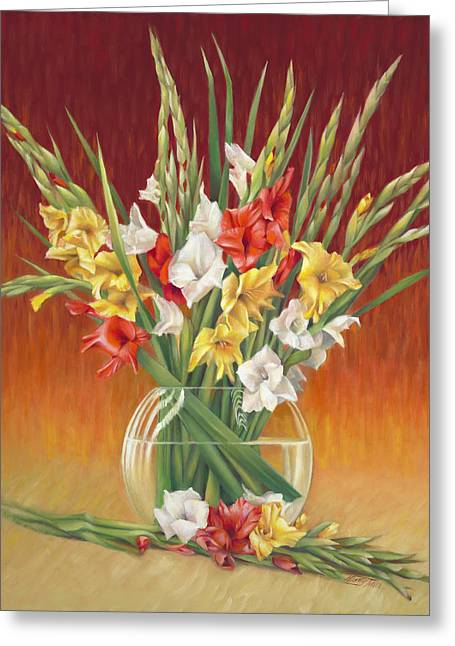 Glass Vase Greeting Cards - Red White and Yellow Gladiolus Greeting Card by Nancy Tilles