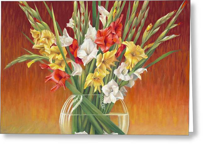 Red White And Yellow Gladiolus Greeting Card by Nancy Tilles