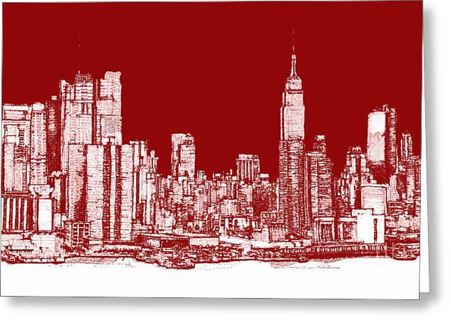 Red Buildings Drawings Greeting Cards - Red white NYC skyline Greeting Card by Lee-Ann Adendorff