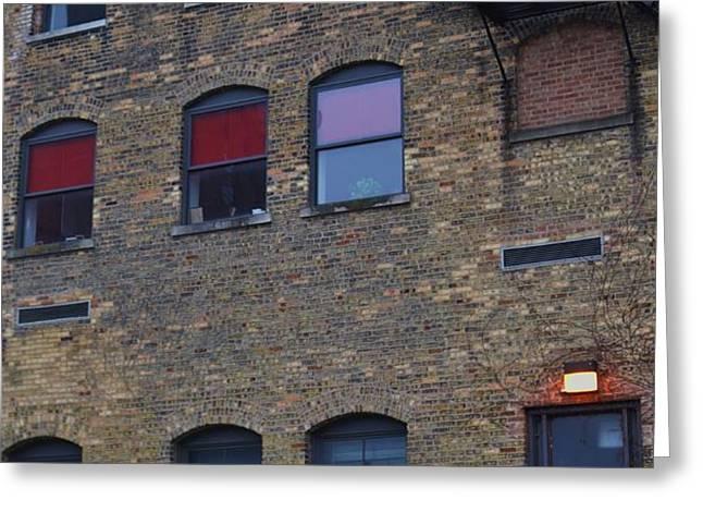 Red Window Greeting Card by TODD SHERLOCK