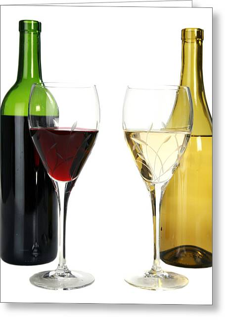 Photography Of Liquor Greeting Cards - Red wine and white wine in cut crystal wine glasses  Greeting Card by Michael Ledray