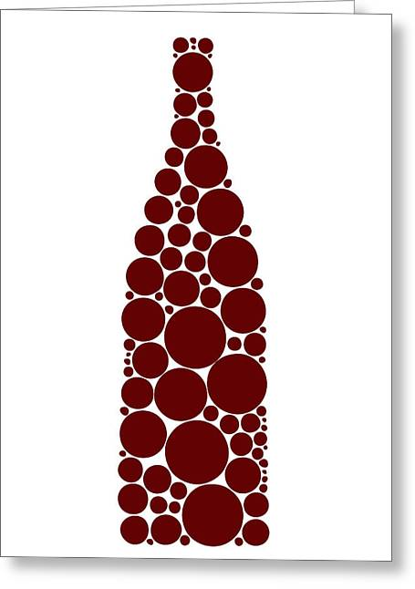 Abstract Drawings Greeting Cards - Red Wine Bottle Greeting Card by Frank Tschakert