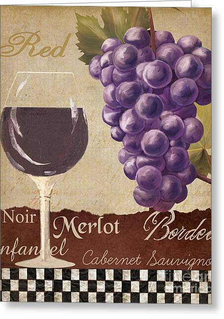 Wine-glass Greeting Cards - Red Wine collage Greeting Card by Grace Pullen