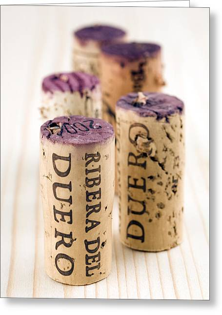 Vino Photographs Greeting Cards - Red wine corks from Ribera del Duero Greeting Card by Frank Tschakert