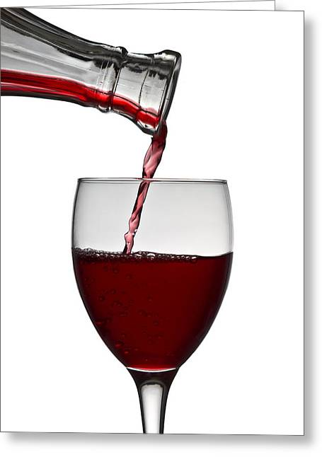 Decanter Greeting Cards - Red Wine Greeting Card by Gert Lavsen