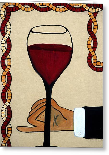 Wine Service Mixed Media Greeting Cards - Red Wine Glass Greeting Card by Cynthia Amaral