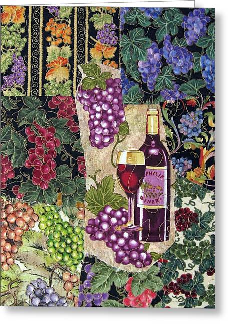 Red Wine Tapestries - Textiles Greeting Cards - Red Wine Greeting Card by Loretta Alvarado
