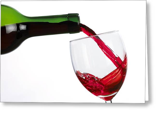 Wine Pouring Greeting Cards - Red Wine Greeting Card by Mark Sykes