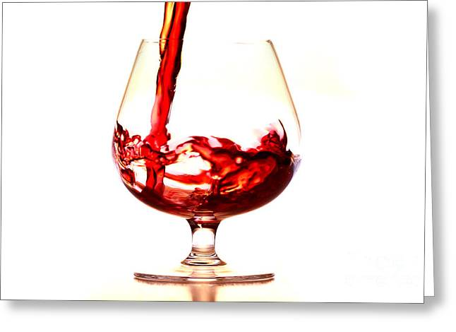 Red Wine Splash Greeting Cards - Red Wine Greeting Card by Michal Boubin