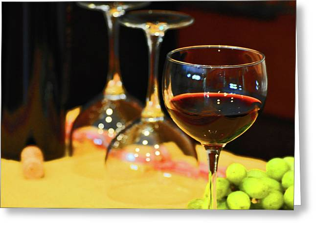 Table Wine Greeting Cards - Red Wine Greeting Card by Peter  McIntosh