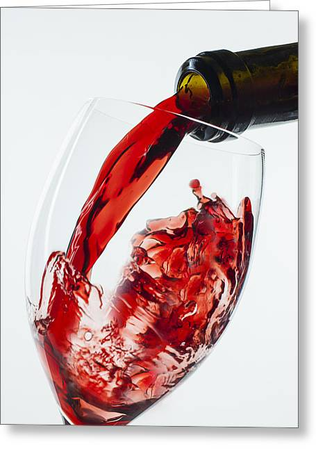 Red Wine Splash Greeting Cards - Red Wine Pour Greeting Card by Garry Gay